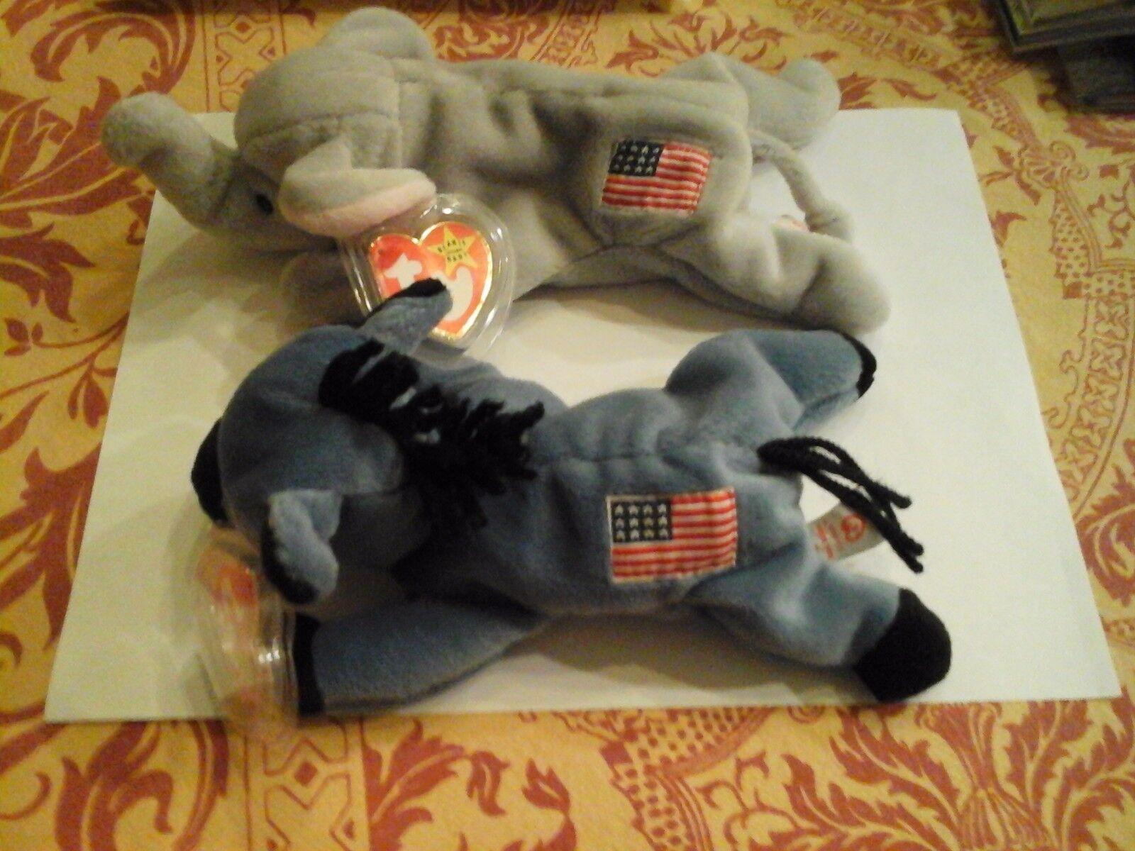 Politische ty beanie babys lefty und rechtshänder w   gestickte amerikanische flagge pvc - pellets