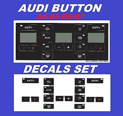 AUDI A6 AC Button Repair Overlays Audi A6 Climate Control Decals 98-06