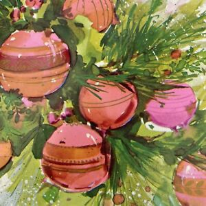 Vintage-Mid-Century-Christmas-Greeting-Card-Hot-Pink-Ornaments-Artist-Water