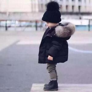 af387d093 Fur Hooded Coat Boys Kids Black Thick Warm Winter Cotton Padded ...