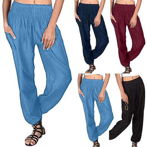 Women Harem Pants Hippie Wide Leg Elastic Waist Gypsy Yoga Boho Palazzo Pants