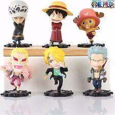 6pcs One Piece Luffy Law Chopper Zoro Sanji Doflamingo Mini PVC Figure LoosePack