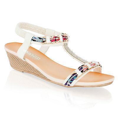 Para mujeres Damas Verano Sandalias Mid Low Tacón Con Plataforma Zapatos Diamnate playa de vacaciones