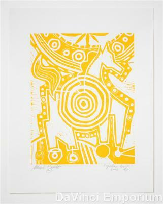 Target Horse Yellow Edition Hand Signed Linocut Block Print Mark T. Smith