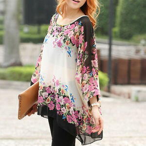 4620f1ce960962 Details about Womens Loose Dolman Batwing Sleeve Tops Bohemian Chiffon  Blouse T-Shirt Oversize