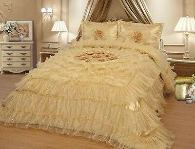 Gold Wedding Bedding Oversize Comforter Bedspread Quilts Set Queen or King