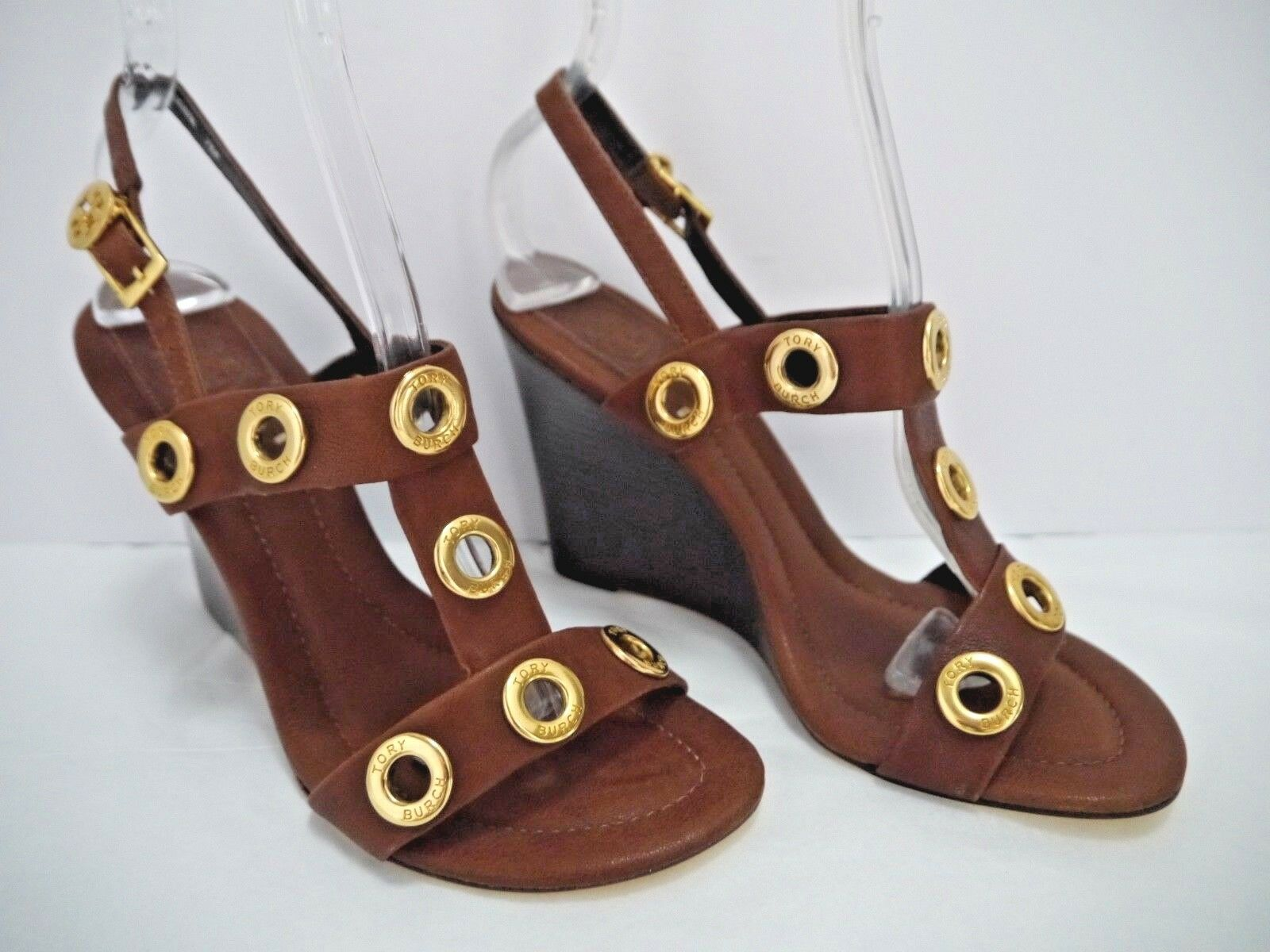 NEW TORY BURCH  325 Kathryn brown leather gold rivet wedge sandals size 7