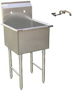 Image Is Loading Stainless Steel Economy Prep Utility Sink And Lead