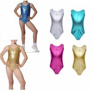 18f8ddbc0 Kid Girls Metallic Leotard Bodysuit Swimsuit Gymnastic Ballet ...