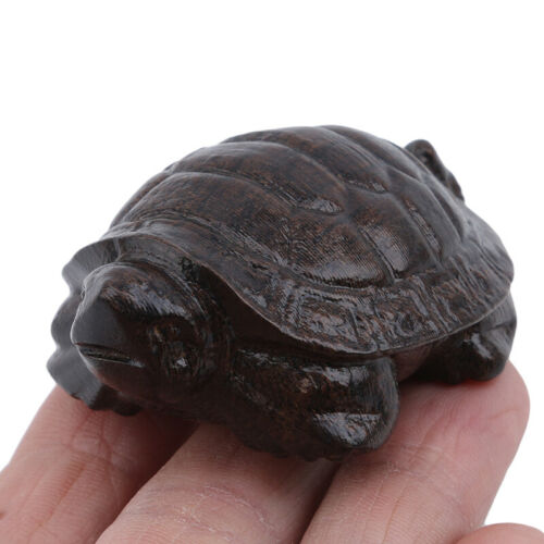 Hand Craft Turtle Animal Shape Natural Wood Carved Statue Office Home Decor LH