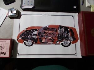LAMBORGHINI MIURA CUT AWAY POSTER 11.75 INCHES BY 16.5 INCHES
