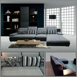 Divano soggiorno 300x180 angolare microfibra sfoderabile grigio ...