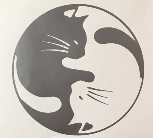Cats Ying and Yang Vinyl Decal Sticker for Window Car or Laptop Pets