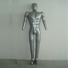 Inflatable Male Mannequin costume FULL-SIZE Body Head & Arms Man Blow Up SILVER