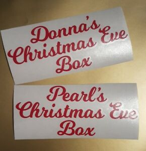 Personalised Name Vinyl Sticker Decal For Christmas Xmas Eve Box