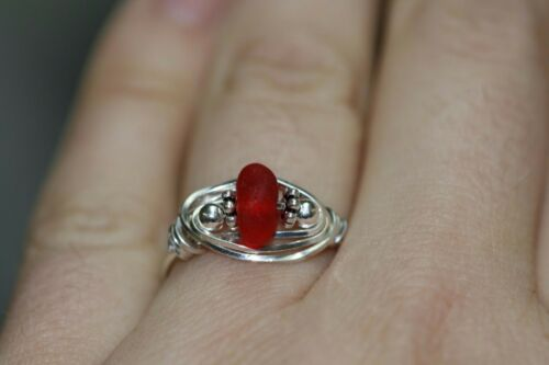 genuine ruby red sea glass ring surf tumbled wire rapped sterling silver ring
