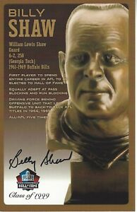 Billy Shaw Buffalo Bills  Football Hall Of Fame Autographed Bust Card
