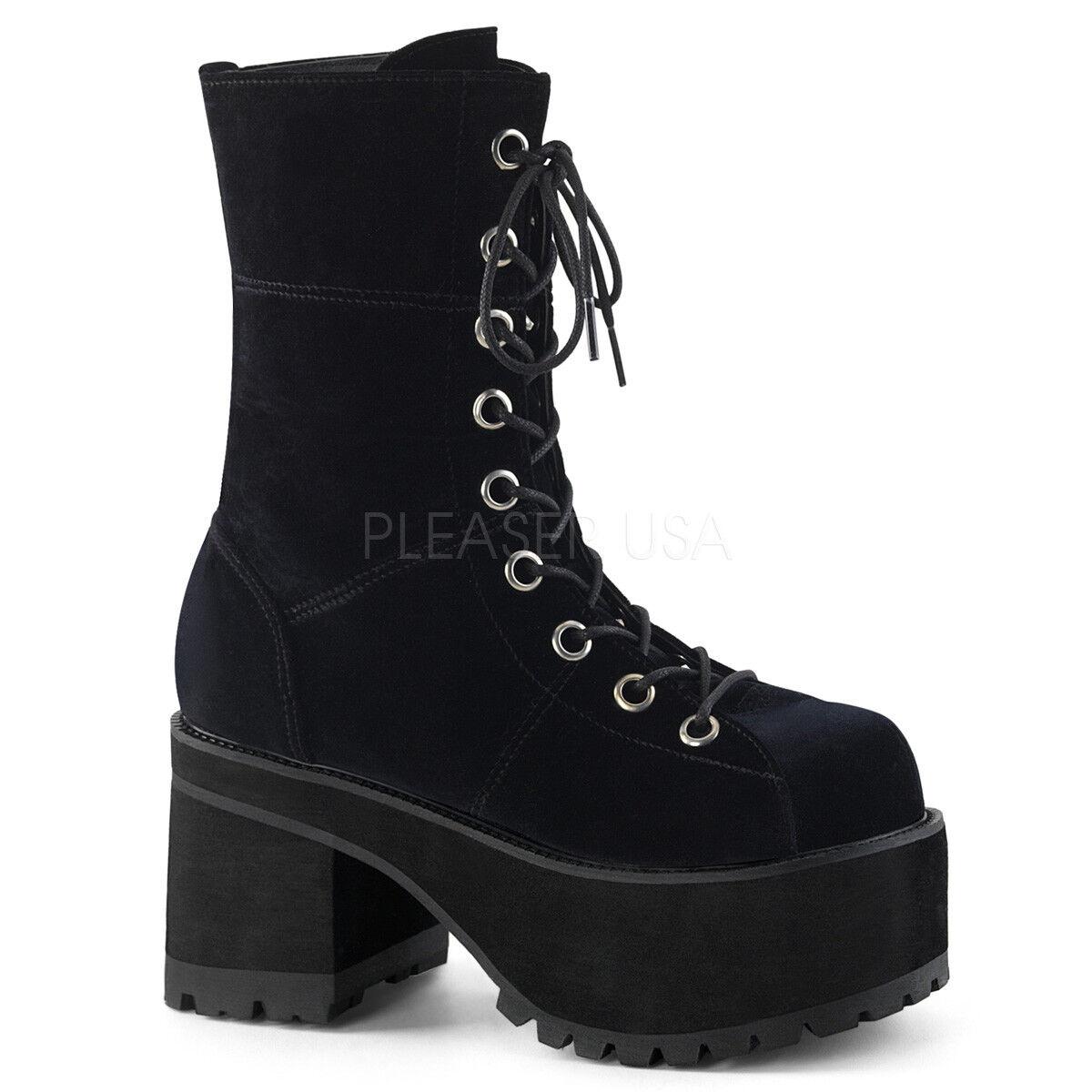 Demonia ranger - 301 Para Mujer De Plataforma De Terciopelo Negro Tacón Alto botas al tobillo con Cordones