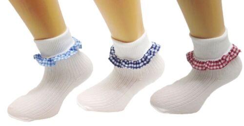 6 Paia Ragazza Gingham Check Pizzo Calze Volant Bianco Uniforme Scolastica Danza tutte le dimensioni