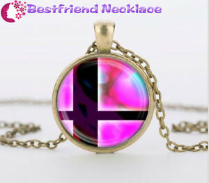 Super smash bros ball pink and black glass dome bronze necklace image is loading super smash bros ball pink and black glass aloadofball Gallery