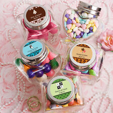 36 Personalized Heart Shaped Glass Jars Birthday Baby Party Wedding Favors