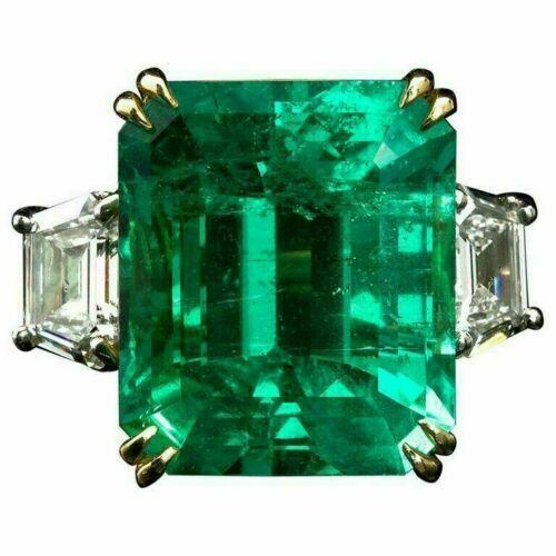 10Ct Emerald Cut Green Emerald Diamond Wedding Engagement Ring 14K White Gold GP