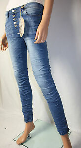 Blue-Rags-baggy-pantalon-jeans-boutons-stretch-gr-36-USED-DENIM-SKINNY-Crush
