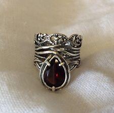Gorgeous!!! SILPADA Ornate 925 Sterling Silver & Teardrop Garnet Ring 6 Israel
