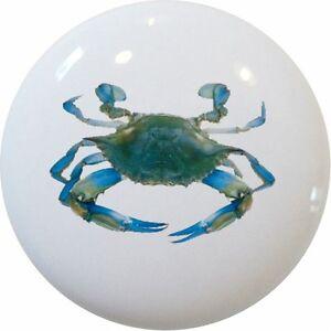 Blue Crab Cabinet Dresser Drawer Pull Knob Ceramic Ebay