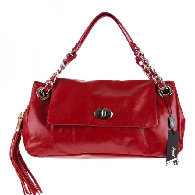 Jenrigo Italian Made Natural Red Glazed Leather Designer Flap Bag With Tassel