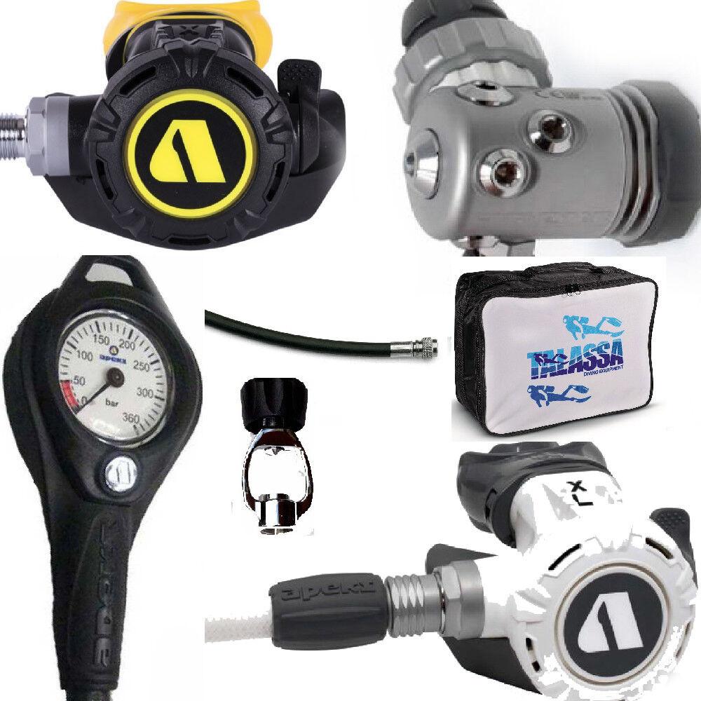 LO3 10 regulator Apeks XL4 DIN300 WHITE + octopus XL4 + gauge Apeks   adaptor