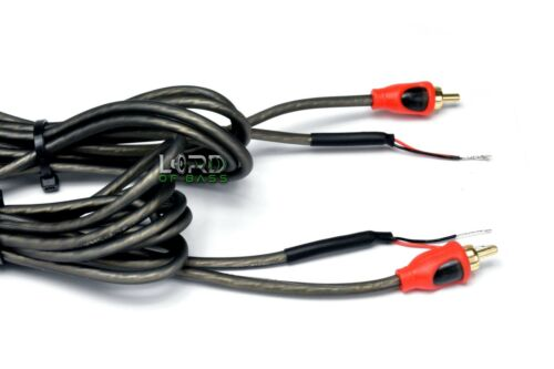 2x 6-ft RCA Male Shielded Audio Cable To Bare Wire For Speaker Subwoofer Red
