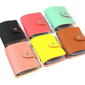 New 24 cards pu leather credit id business card holder pocket wallet image is loading new 24 cards pu leather credit id business reheart Images