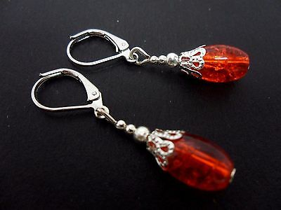 NEW A PAIR RED//YELLOW CRACKLE BEAD SILVER PLATED DROP LEVERBACK HOOK EARRINGS