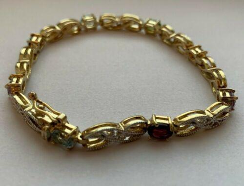 925 Sterling Silver Gold Tone MULTI COULEUR Pierres Tennis Bracelet