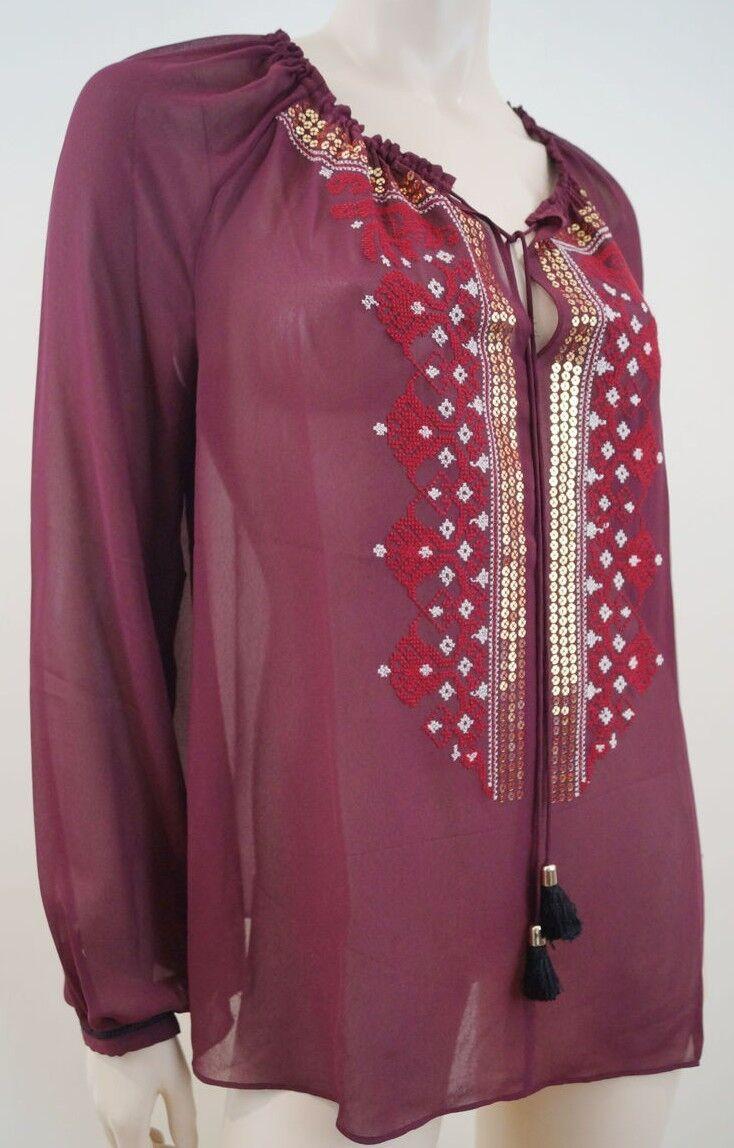 ALTUZARRA For Target Burgundy Sheer Sequin Embellished Blouse Top Sz M BNWT