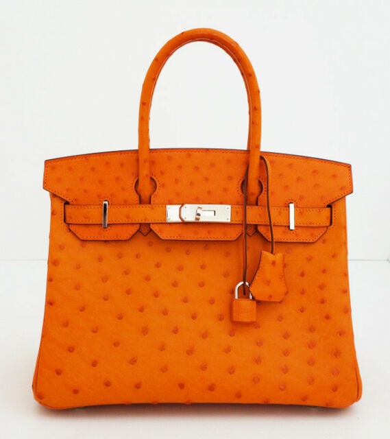 HERMES ORANGE OSTRICH BIRKIN 30 TANGERINE BAG NEW