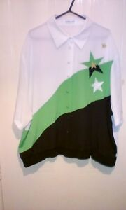 Batwing Inch Short 52 Jacques Womens White Vert Blouse Button Sleeves Chest Ex1nnwRqz