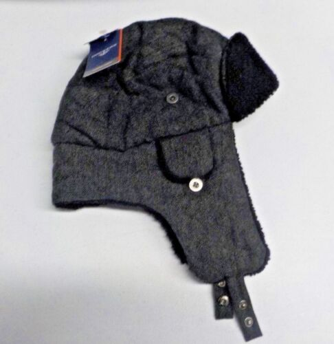 Mens Size S//M Dockers Gray//Black Sherpa Lined Trapper Hat New Nwt #12057