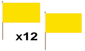 Plain Yellow Large Hand Waving Flag 45X30Cm 12 Pack