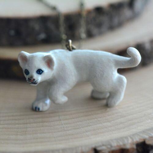 Hand Painted Porcelain White Lion Necklace Antique Bronze Chain Ceramic Animal