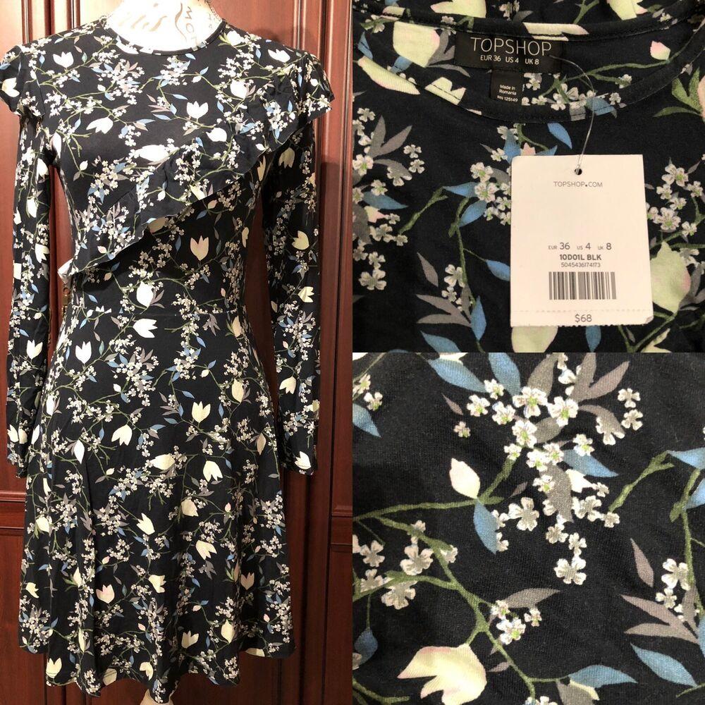 * Topshop Neuf Avec étiquettes Taille 8: 36 Euros Frill Front Robe/printemps Imprimé Floral Magnifique