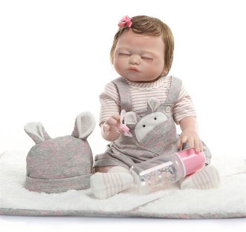 NPK Adorable Sleeping Cute Dolls Full Body Silicone Vinyl Reborn Baby Dolls Girl