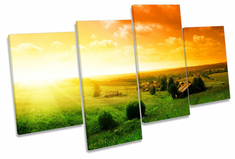 Sunset Landscape Countryside MULTI CANVAS WALL ART Print Picture