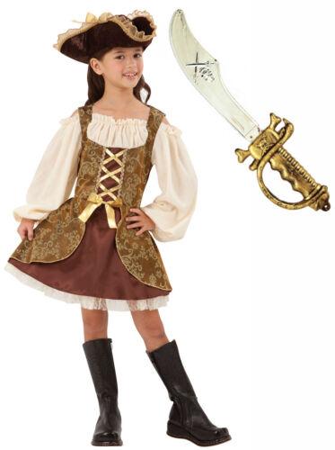 épée Filles Enfants Enfants Golden Pirate des Caraïbes Costume Déguisement Âge 4-10