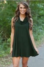 Women's Celeb Crazy Cowl Neck Hunter Green Dress Party Cocktail Club Dress 8-10