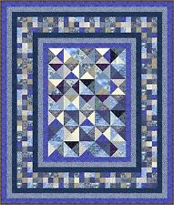 "INDIGO BLUES - 79"" x 67""- 7 colour - Quilt-Addicts Precut Quilt Kit Kng Single"
