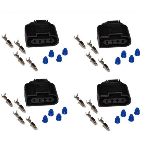 4x Stecker 4-polig Reparatursatz für VW 1J0973724 Skoda Seat Zündspule Crimp
