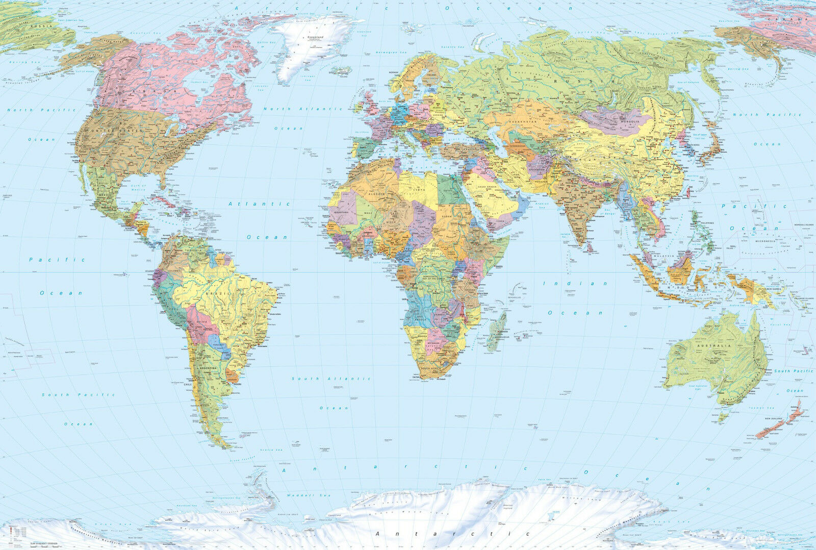 High Quality non-woven wallpaper mural for bedroom - Map of the World