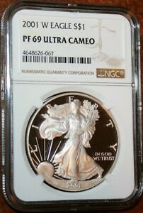2001-W-Silver-Eagle-Proof-Gem-Dollar-Graded-Coin-NGC-PF-69-Ultra-Cameo-401
